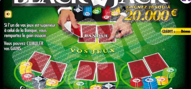 Jeux à gratter blackjack, jusqu'à 20.000 € à remporter!