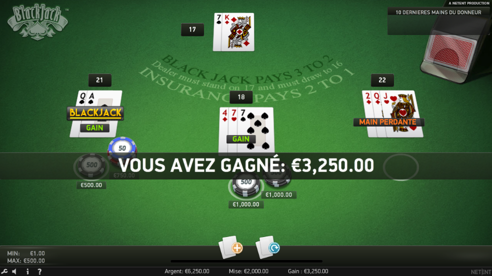 Voici mes gains au blackjack