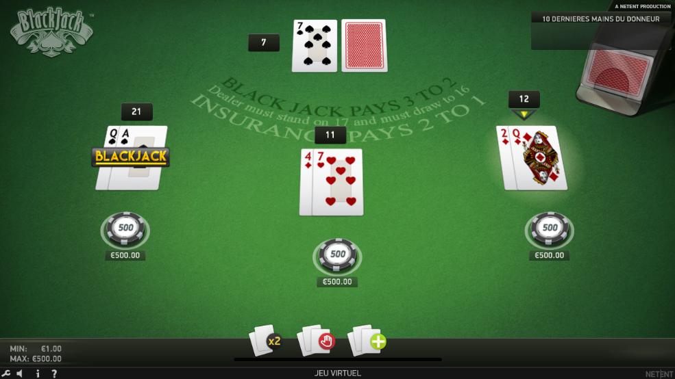 Mes premières mains au blackjack