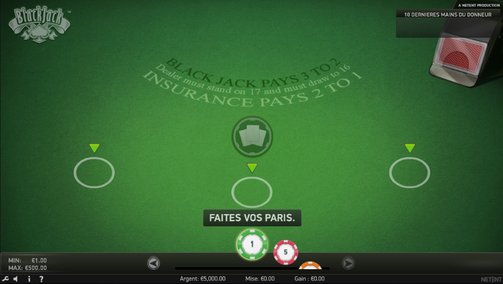 Interface du jeu en ligne blackjack classic