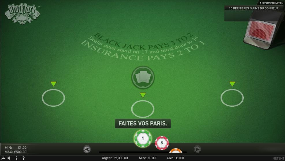 Interface du jeu en ligne blackjack classic