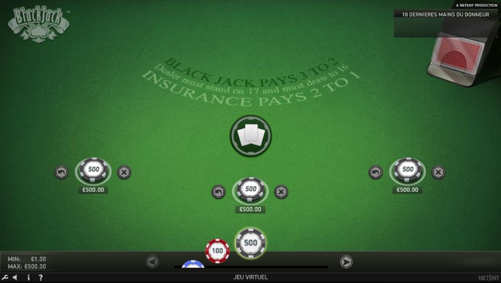 Mises de 3 fois 500€ au jeu en ligne blackjack classic