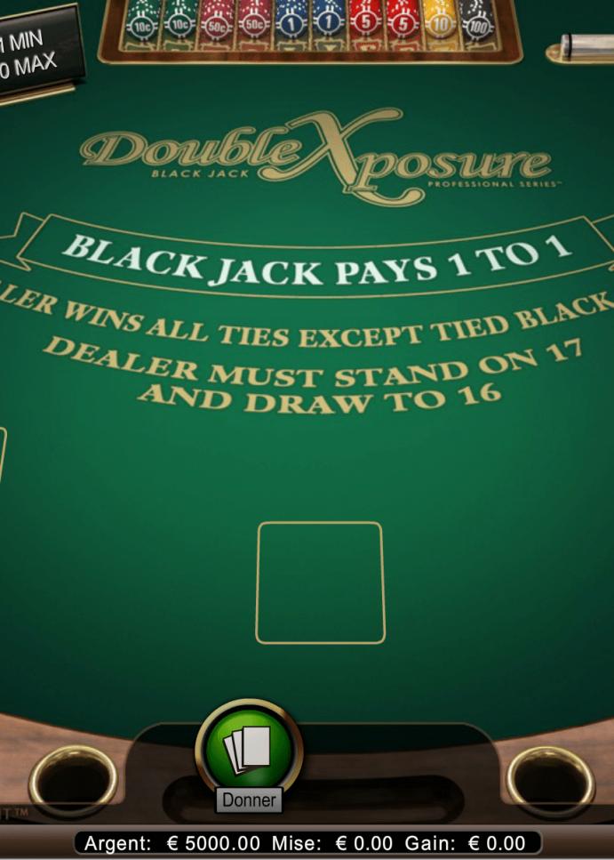 Nous avons testé le blackjack double exposure